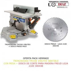 OFERTA PACK HERMADI  TRONZADORA TM33W VIRUTEX ABATIBLE  CON MESA + DISCO DE CORTE PARA MADERA FREUD LG2A 2100 300X48